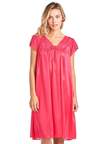 Casual Nights Women's Fancy Lace Neckline Silky Tricot Nightgown - Red - Large