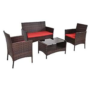 Juego de sofá de mesa de ratán sintético para patio, 4 piezas, color marrón con cojín rojo