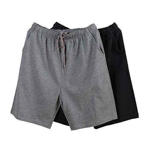RENZER Men's Short Pajama Bottoms Knit Cotton Short Lounge Pants[2 Packs] Dark Gray & Black 2XL ()