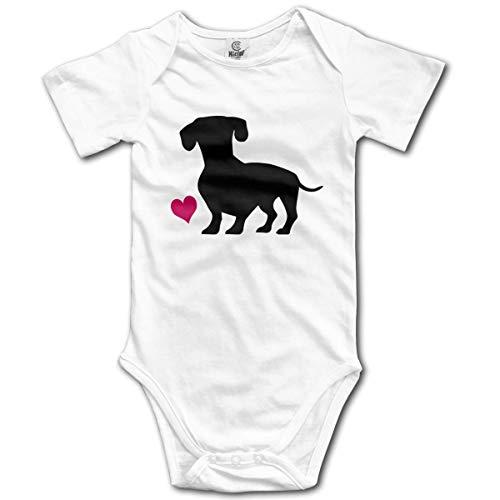 HKFG Black Wiener Dog and Pink Heart Infant Short-Sleeve Onesies Baby Boys -