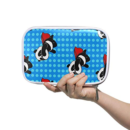 Pencil Case Big Capacity Pen Bag Dots Pattern Lovely Super Panda Makeup Pouch Durable Stationery for Students