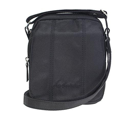 FABRIZIO Microfaser Tasche ROMA MINI Handtasche Schultertasche + Nagelset / SCHWARZ
