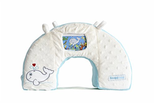 Snuggwugg Infant Toddler Wiggle Free Diaper Changing Interactive Tummy Time Pillow Great for Travel & Baby Support, Use with Toys or Smartphone, Unique & Affordable Baby Shower Gift, Blue Whale