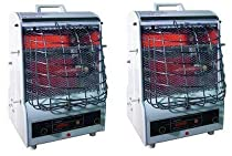TPI Corporation 198TMC Fan Forced Portable Heater, Radiant, 1500/900/600W, 120V (2-(Pack))