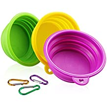 YOBY Collapsible Dog Cat Travel Bowl, 3-Packs Foldable Expandable Food Grade Silicone Dish for Pet Portable Food Water Feeding Container, Small to Medium Dogs Yellow Green Purple Free Carabiner