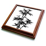 3dRose trv_268493_1 Black and White Bamboo Graphic Trivet with Tile, 8'' x 8''