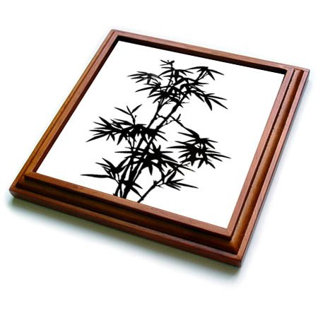 3dRose trv_268493_1 Black And White Bamboo Graphic Trivet With Tile, 8'' x 8'', Brown by 3dRose