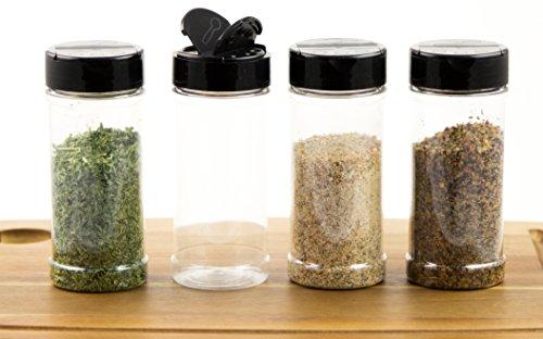 Chefible 8 oz Spice Jar, Shaker Jar, Black Lid, Spice and Herb Dispenser, Set of 4 Spice Dispenser