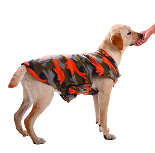 g Windproof Coats Jackets Cold Weather Apparel Cozy Puppy Pet Clothes Accessories Large Medium Dogs by, Black/Orange Camo,Ideal for Samoye Husky Folden Retriver(L) ()