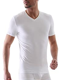 David Archy Men's 3 Pack Micro Modal Undershirts Soft Comfy V-Neck T-Shirts