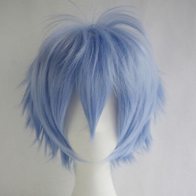 Max beauty Basic Style All Characters Anime Short Wig,Layered Fluffy Heat Resistant Unisex Hair Party Cosplay Blue