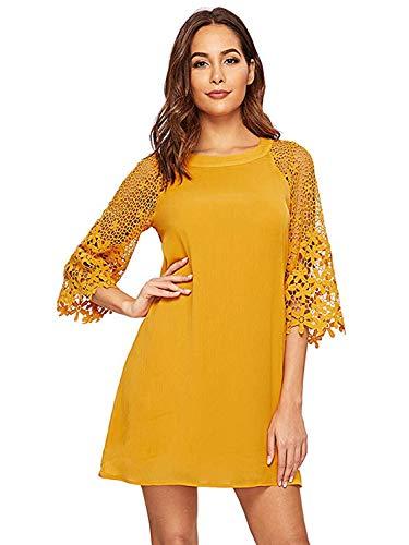 MakeMeChic Women's Casual Crewneck Half Sleeve Summer Chiffon Tunic Dress Yellow S