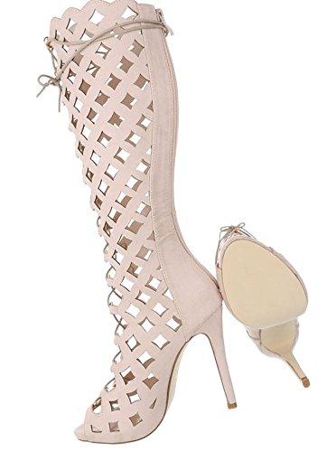 Damen Sandalette Plateau | Stiletto Sandalette | High Heels Pumps | exotische Schuhe | Hohe Pfennigabsatz Sandalette | Partypumps | Schuhcity24 Beige