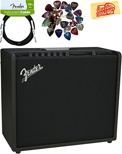 Fender Mustang GT 100 Guitar Amplifier Bundle with Instrument Cable, Pick Sampler, and Austin Bazaar Polishing Cloth by Fender