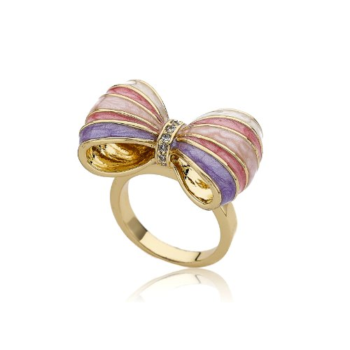 Little Miss Twin Stars Bow Beautiful 14k Gold-Plated Marbleized Light Blue, Lavender, Pink & White Stripe Bow Ring CZ Stripe Center