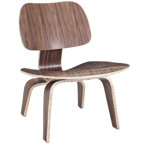 - Modway Fathom Mid-Century Modern Molded Plywood Lounge Accent Chair in Walnut