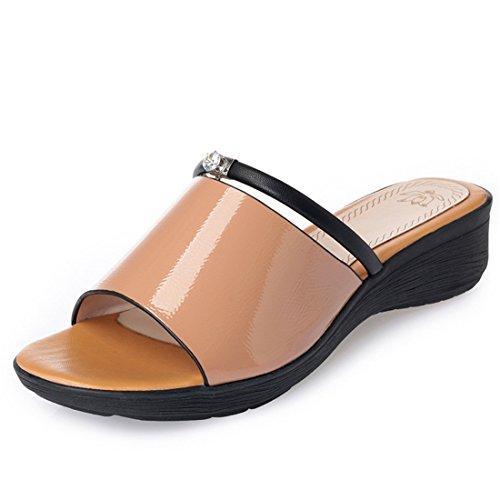 Sandalias Zapatos Damas Zapatillas Mollete Fondo yellow Gran Grueso Playa Zapatos de 4Aq1AF