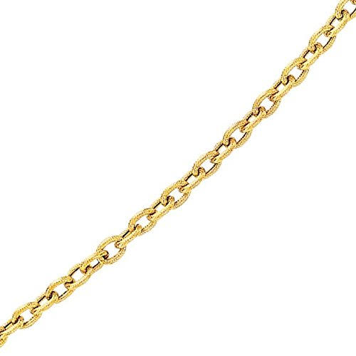 BH 5 Star Jewelry 14kt Yellow Gold Diamond Cut Oval Textured Link Chain with Lobster Clasp (20, 2.5 mm)