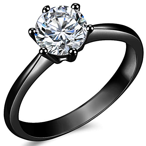 Jude Jewelers 1.0 Carat Classical Stainless Steel Solitaire Engagement Ring (Black, 7)