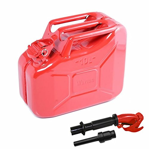 10 Liter (Red) Steel Wavian Jerry Can (Spout Included)