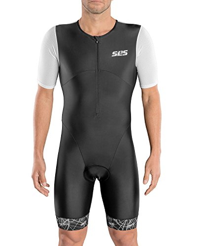 SLS3 Men`s Triathlon Suit | Short Sleeve Aero Tri Suit | 2 Pocket Trisuit Men | Soft Custom Chamois 2018 (Black/White, M) -