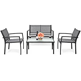 Best Choice Products 4-Piece Outdoor Patio Metal C...