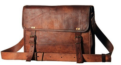HandMadeCart Men's Auth Real Leather Messenger Laptop Briefcase Satchel Mens Bag (Leather Man Bag)