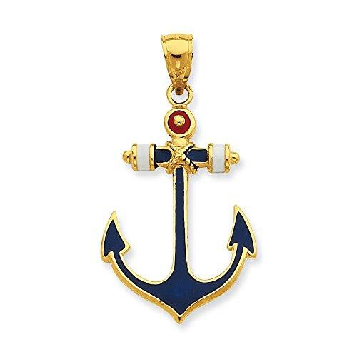 2-d 14 carats Rouge, Blanc et Bleu-Pendentif ancre JewelryWeb émaillé