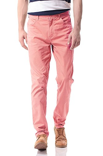 PH-17 Men's Slim Stretchy Casual Chinos Pants Tapered Work Weekend (Pink Chino)