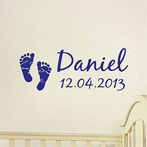 Hetsa Wall Stickers Art Decor Vinyl Peel and Stick Mural Removable Decals Personalized Name with Date Empreintes De Bébé for Nursery Kids Room ()
