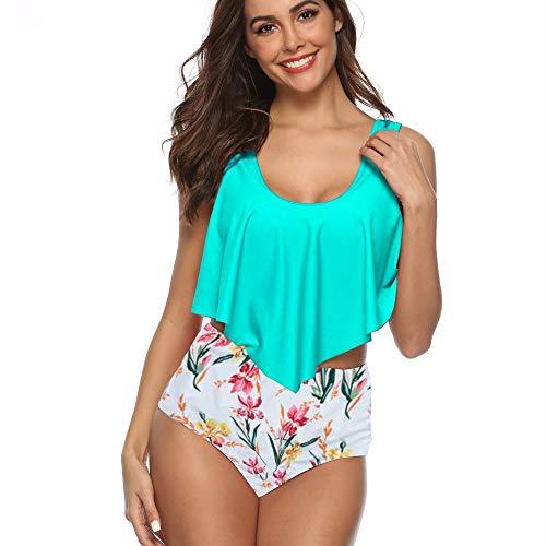 Unity-Link Women Ruffled Flounce Crop Bikini Top with Print High Waisted Bottom Two Piece Swimsuits (Aqua, Small (US 4-6))