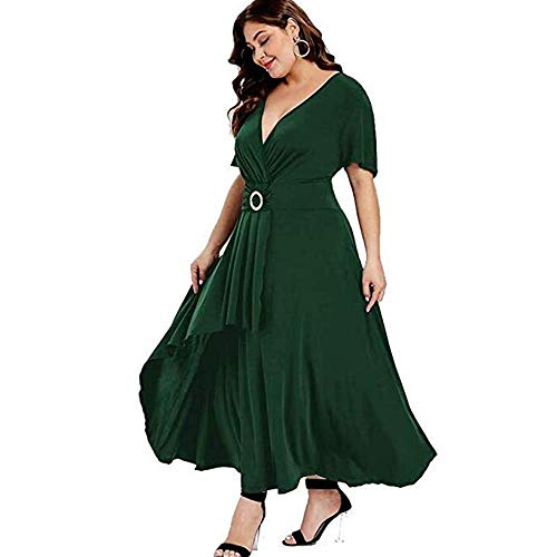 GMHO Womens Plus Size Elegance Hepburn Style V Neck Formal Dress 3/4 Puff Sleeve Puffy Swing Midi Cocktail Bride Mother Dress (Green, (Puff Sleeve Womens Dress)