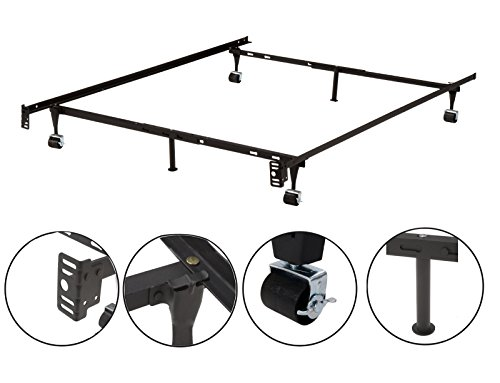 6-Leg Heavy Duty Adjustable Metal Queen, Full, Full XL, Twin, Twin XL, Bed Frame With Rug Rollers & Locking Wheels by 2K Designs