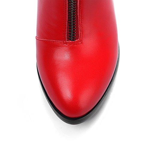 Hæler Kvinners Allhqfashion Rød Med Blandingsmaterialer Chunky Og Stil Kattunge Kurver Støvler Hæler vdqdrxPwS