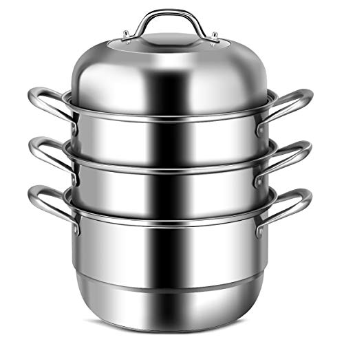 COSTWAY 3-Tier Stainless Steel Steamer, 11'' Multi-Layer Boiler Pot with Handles on Both Sides, Cookware Pot with Tempered Glass Lid, Work with Gas, Electric, Grill Stove Top, Dishwasher Safe, Includes 2 Steaming Septa (Stainless Steel) (3 Tier Steamer Stainless Steel)
