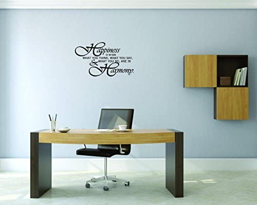 What You Say What You Do Design with Vinyl Moti 2104 3 Decal Wall Sticker : Happiness is When What You Think are in Harmony Color: Black Size 20ES x 40ES