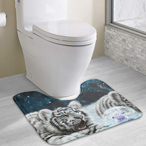 1 Piece Tiger Snow Blowers Rug Set Toilet 19x16 Carpet Rugs