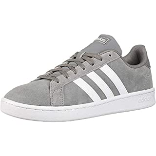 adidas mens Grand Court Sneaker, Grey/White/Grey, 9 US