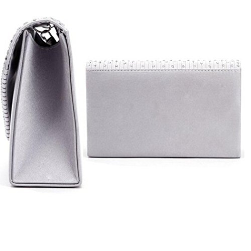 Satin Silver Bolayu Clutch Handbag Bags Ladies Bag Envelope Evening Party Diamante Shoulder Sexy Prom tOqBxnOFw