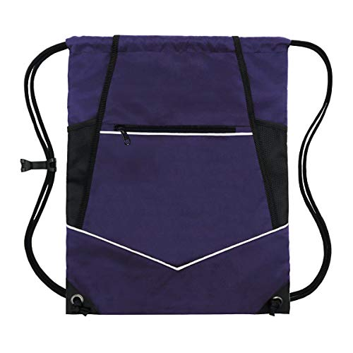 Packable Drawstring Sackpack Wet Pocket with Zipper and Water Bottle Mesh Pockets – purple