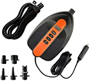 16PSI Max SUP Air Pump Electric - 12V DC Car Connector, Smart Dual Stage Inflation & Auto-Off, Digital Adj