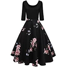 BIUBIU Women's 1950s Retro Dress Vintage Floral Flared A-line Midi Swing Dress