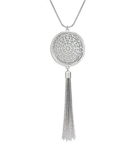 (MOLOCH Long Necklaces for Woman Disk Circle Pendant Necklaces Tassel Fringe Necklace Set Statement Pendant (Silver))