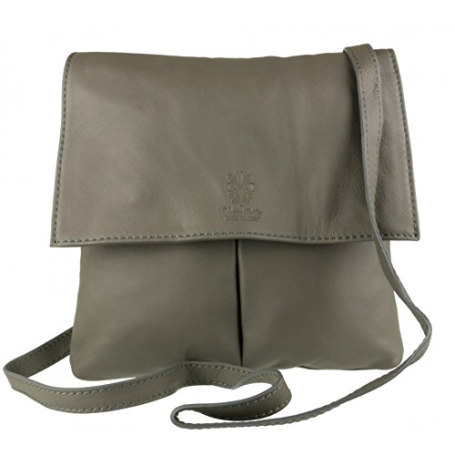Leather Handbag Genuine Body Pelle Pocket Italian Leather Cross Grey Bag Dark Shoulder Bag Vera or Double 5wOOpaHx