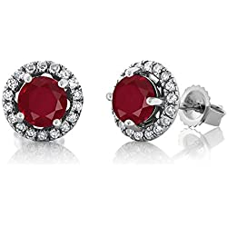 1.28 Ct Round Red Ruby H/I Diamond 14K White Gold Earrings