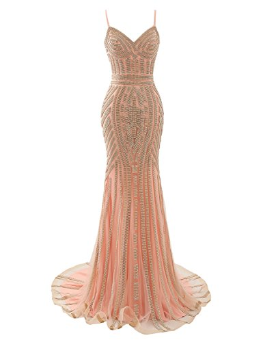 Crystal Women's 116 Formal Prom Beaded Sarahbridal Gowns Dresses LX116 Long Evening Pink HOSqgWcUW