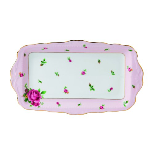 Royal Albert NCRPNK26137 New Country Roses Formal Vintage Rectangular Serving Tray, White - Rose Sandwich Tray