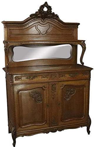 EuroLuxHome Server Sideboard Louis XV Antique French Rococo 1900 Walnut Mirror ()