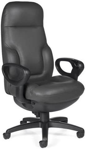 Big and Tall 24 Hour Leather Ergonomic Executive Chair Black Leather