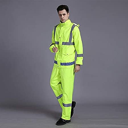 3XL XUHAN High Visibility Reflective Waterproof Rain suit Jacket Working Clothes Motorcycle Cycling Sports Outdoor Reflective Safety Clothing with pants